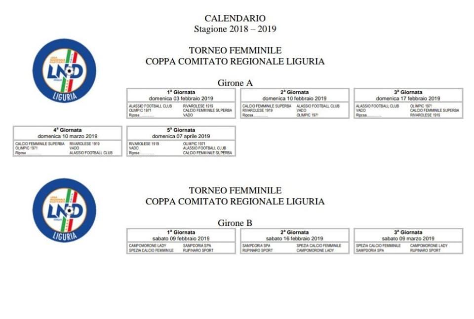 Calendario Regionale Liguria.Vado Femminile Il Calendario Della Coppa Comitato Regionale